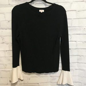 PIXLEY Stitch Fix Black Bell Sleeve Sweater